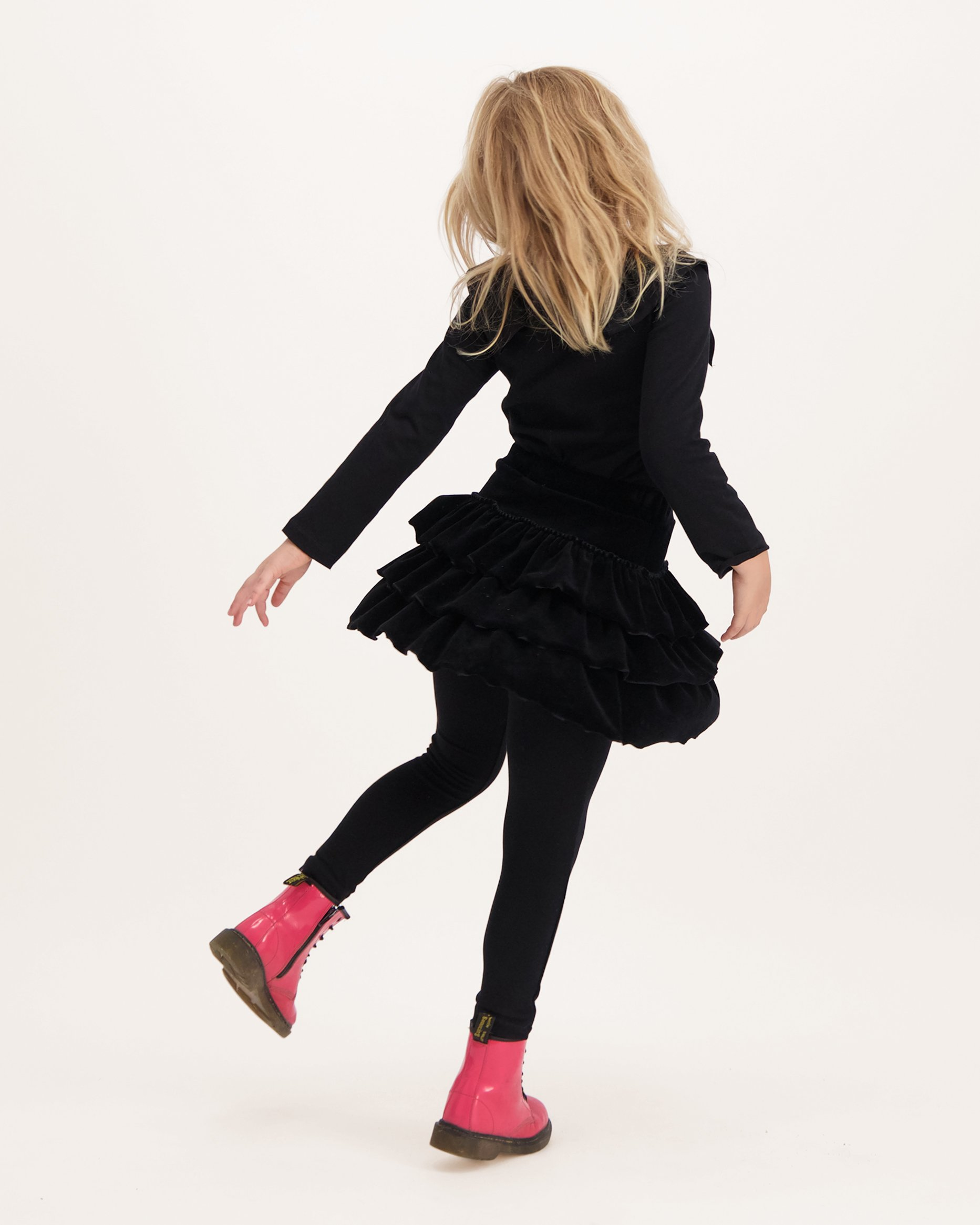 Girls Velvet Ruffle Skirt