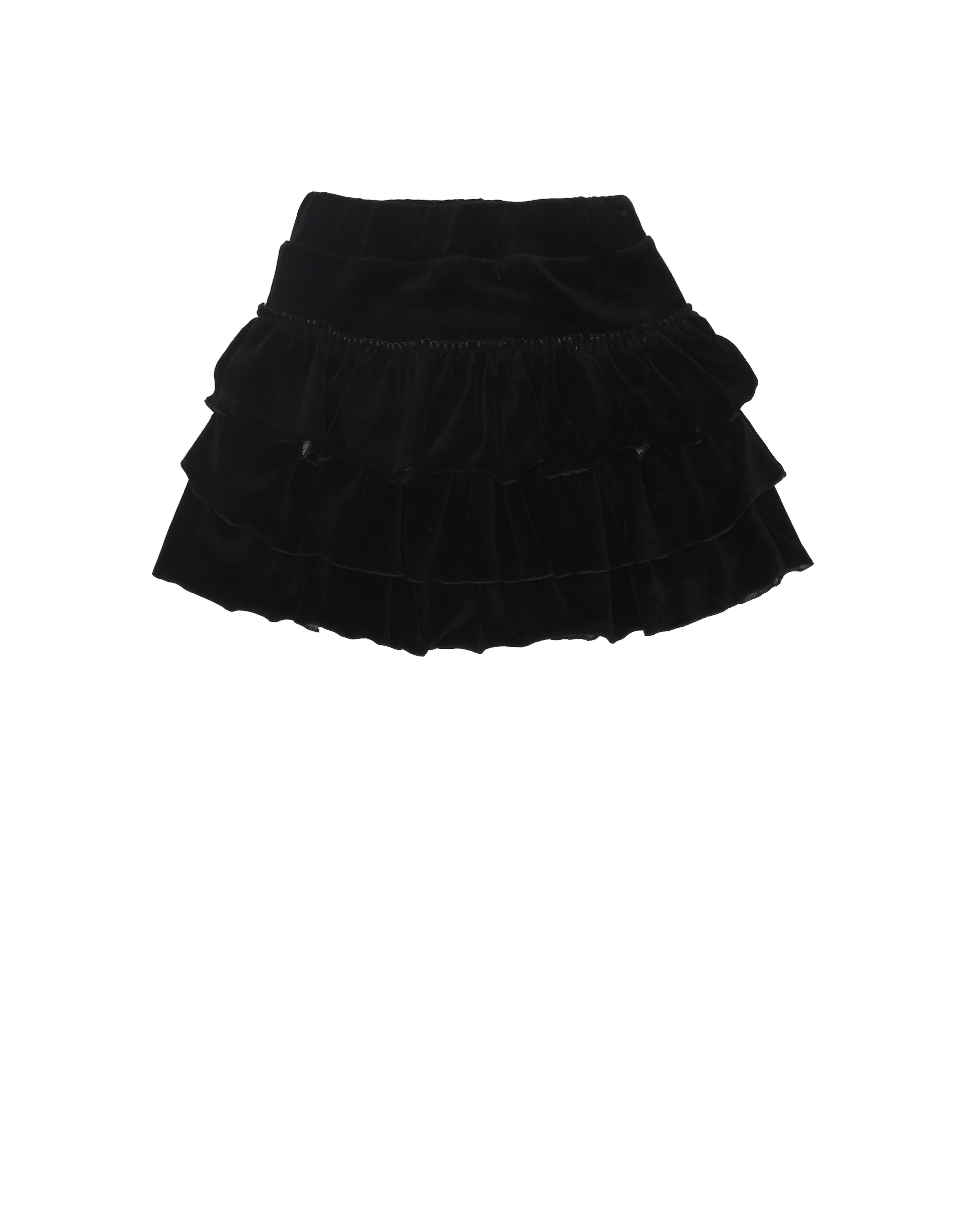 Girls Velvet Ruffle Skirt