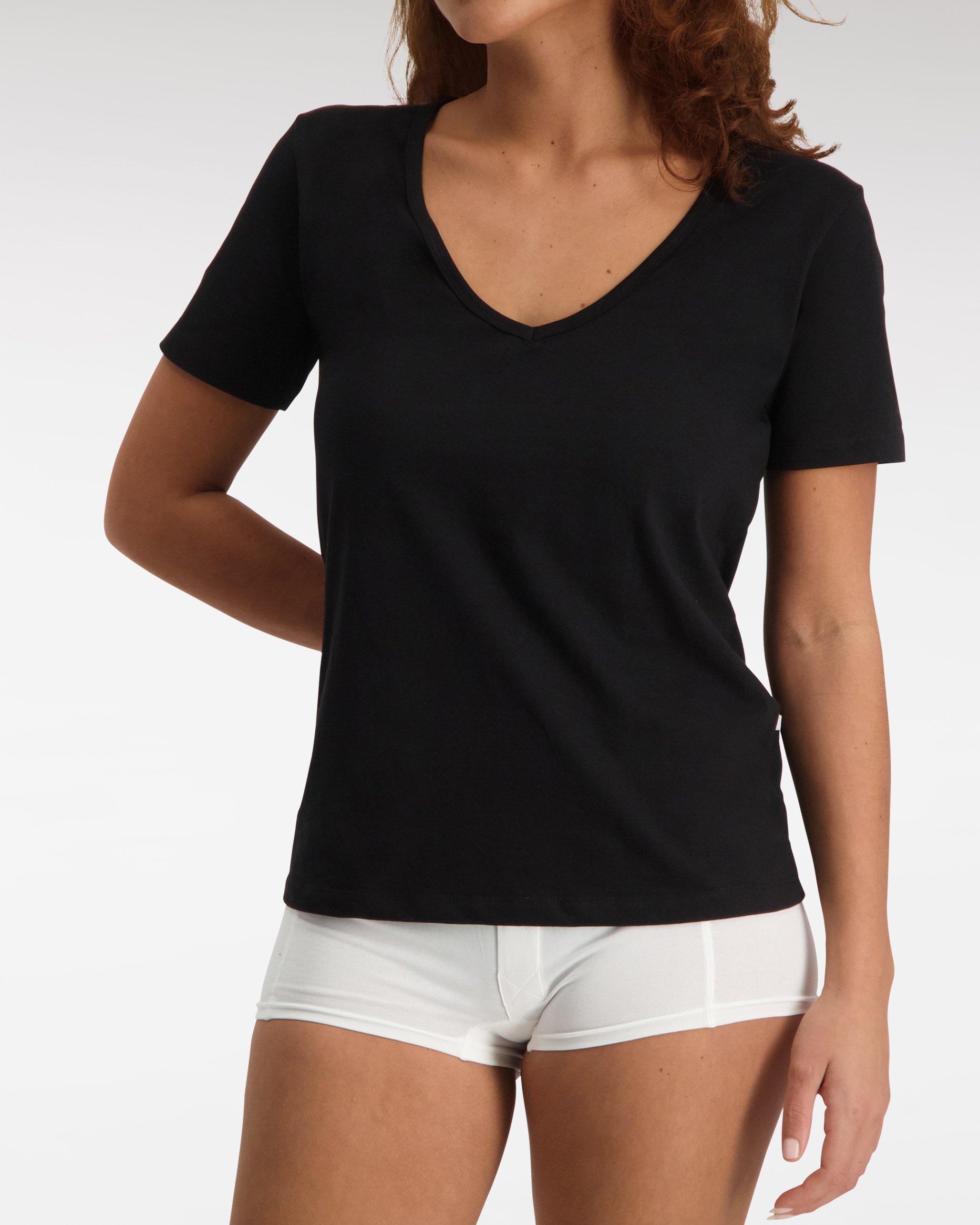 Loose Fit V Neck T shirt SS